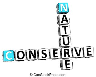 3D Nature Conserve Crossword on white background