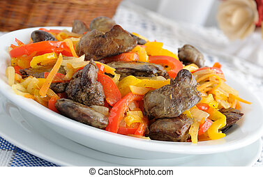 Chicken liver with vegetables - Chicken liver with roasted...