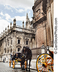 Cathedral of Seville with carrige horse, Spain