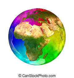 Rainbow planet Earth - Europe - 3D illustration of Rainbow...