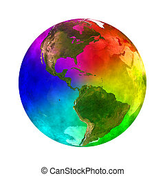 Rainbow planet Earth - America - 3D illustration of Rainbow...