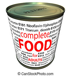 Food additives - e-numbers - Cartoon of can with e numbers...