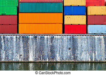 Cargo container in a harbor