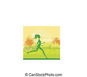 Jogging girl in city park