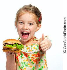 pequeno, menina, comer, sanduíche, isolado