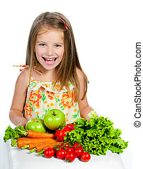 sweet girl with vegetables