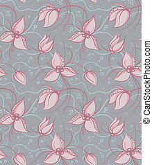 Seamless pattern pink orchid flowers
