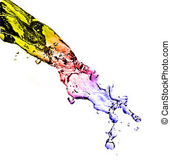 colour splashing water - Abstract composition with beautiful...