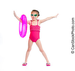girl in swimming suit - cute little girl in swimming suit