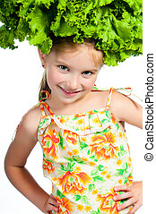 little sweet girl with a salad on her head