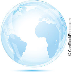 Globe glass in blue on white background