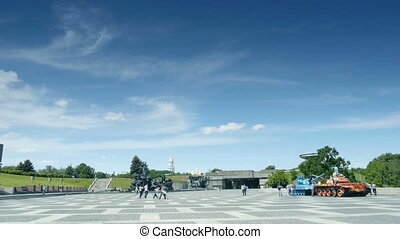 Timelapse at Memorial Complex National Museum of History of Great Patriotic War of 1941-1945.