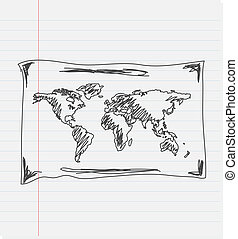 Hand drawing map of the world