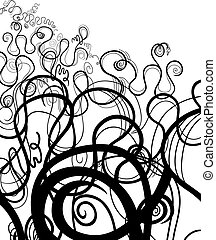 black and white abstract swirl ornament