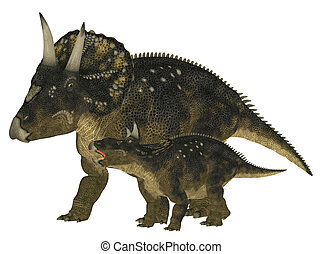 Adult and Young Nedoceratops - Illustration of an adult and...