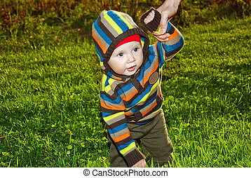 Handsome boy walking on green grass in hand with parents.