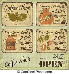 Grunge coffee labels in Retro style