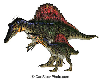 Adult and Young Spinosaurus - Illustration of an adult and a...