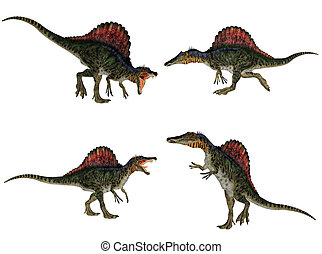 Spinosaurus Pack - Illustration of a pack of four 4...