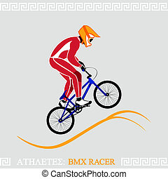 Athlete BMX racer - Greek art stylized BMX racer jumping on...