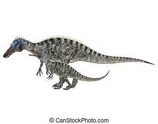 Adult and Young Suchomimus - Illustration of an adult and a...