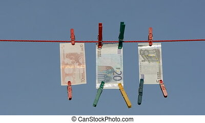euro on clothes-line