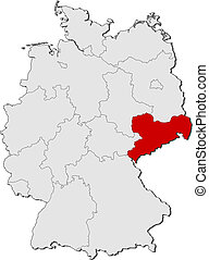 Map of Germany, Saxony highlighted - Political map of...
