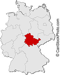 Map of Germany, Thuringia highlighted - Political map of...