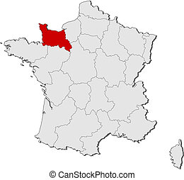 Map of France, Lower Normandy highlighted - Political map of...