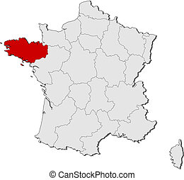 Map of France, Brittany highlighted - Political map of...