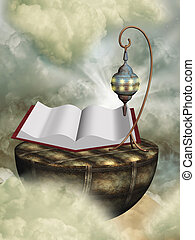steampuk scene with old lamp and magic book