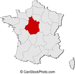Map of France, Centre highlighted