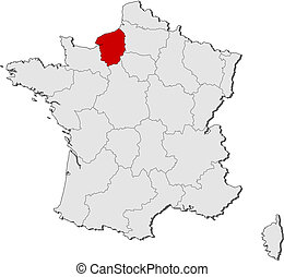 Map of France, Upper Normandy highlighted - Political map of...