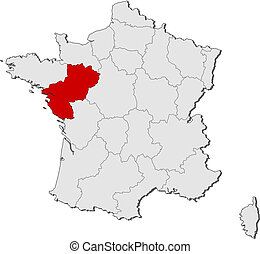 Map of France, Pais de la Loire highlighted