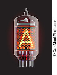 Nixie radio tube - ixie tube indicator Letter A from retro,...