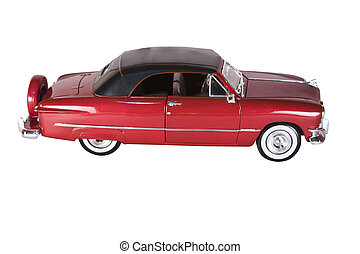 Classic 50s American Car - Classic red car with polished...