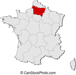 Map of France, Picardy highlighted - Political map of France...