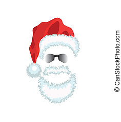 Red Santa Claus Hat, beard and glasses Vector illustration...