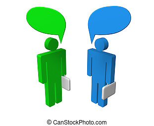 Business Chat - Chat between two speaking businessmen. Blank...