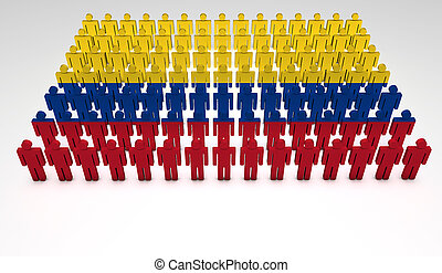 Colombian Parade - Parade of 3d people forming a top view of...