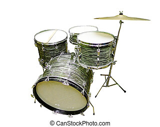Drums Vintage - Vintage jazz rock drums with cymbal and drum...
