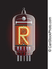 Nixie tube indicator Letter R from retro, Transparency...