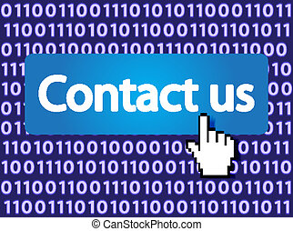 Contact us Button with Hand Cursor Vector Illustration