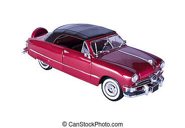 Classic 50's American Car - Classic red car with polished...