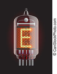 Nixie radio tube - Nixie tube indicator Letter E from retro,...