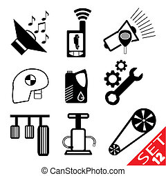 Car part icon set 12 Vector Illustration EPS8