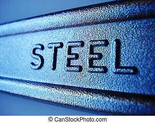 Steel - Close-up of steel sign on industrial forged wrench.