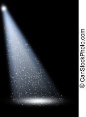 Stage Spotlight with Laser rays on black background