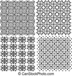 Geometric seamless patterns set, vector backgrounds collection