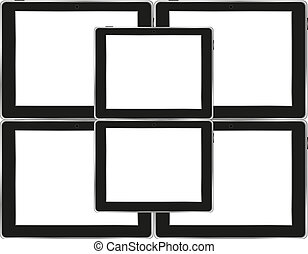 Vector tablets pc with empty white screen and black frame